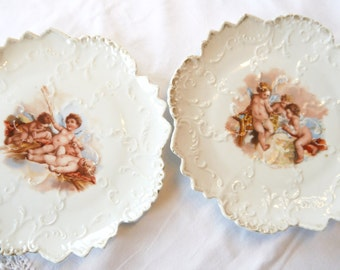 Pair of Attractive Angel design Porcelain Plates