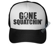 Gone Squatchin Trucker Hat Finding BIGFOOT SASQUATCH Bobo I Believe Finding Mesh Cap Hunting Gear Funny