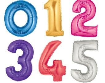 "HUGE! 40"" Mylar Number Balloons: Wedding, Shower, 1st Birthday, Baby, Election, Sports, Photo Prop, Decor, Spring, Prom, Graduation, 2017"