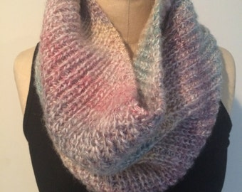 Knit Pastel Ombre Cowl/Neckwarmer/Infinity Scarf - FREE U.S. SHIPPING