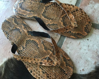 Genuine Full Python Flip Flops • Mens 9/Womens 10.5 •