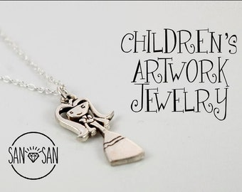 CUSTOM Children's Artwork jewelry in  Silver