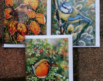 New, Blank Inside Greetings Cards. One Pound Fivety each. Wren, Blue Tit & Robin. Minimum Order x 4 Pick and Mix. Cards X 29 to choose from.
