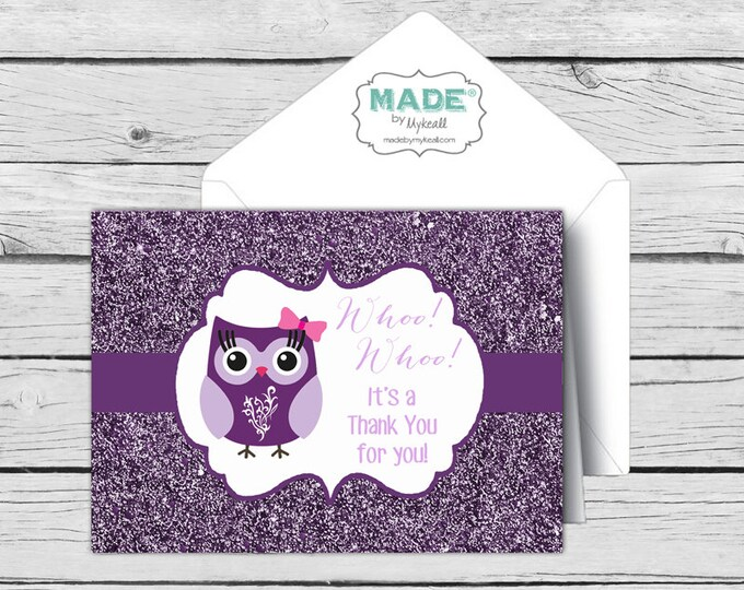 Owl Glitter THANK YOU Note Card Set-Purple - Motivational Cards, Printed Thank You Cards, Stationery