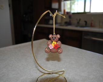 May flowers bear ornament handmade polymer clay