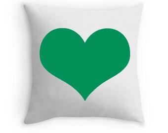 Green Heart Pillow, Green Heart Throw Pillow, Green Bedding, Green Toss Pillow, Green Decorative Pillow, Green White Pillow, Green Decor