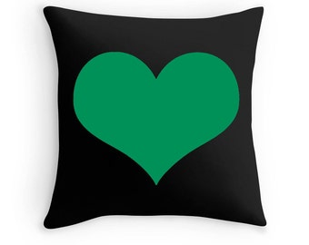 Green Heart Pillow, Green Heart Print, Green Decorative Pillow, Green Black Pillow, Green Decor, Green Throw Pillow