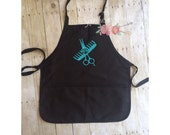 Comb and Shears Monogrammed Apron Hair Stylist Monogrammed Apron Cosmologist Apron Beautician Barbers Apron