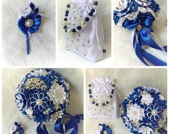 Bridal bouquet set, handmade, blue / white