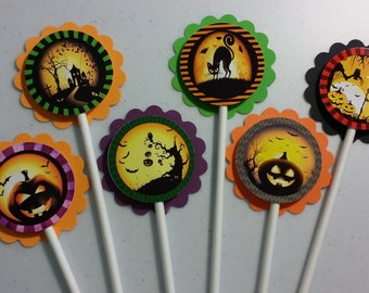 Set of 12 Halloween Cupcake Toppers Trick or Treat