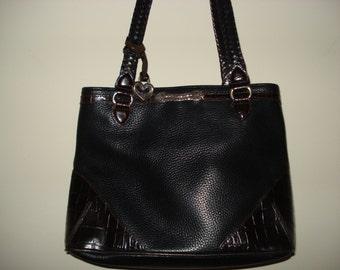 VINTAGE BRIGHTON HANDBAG.  Signed. Silver Heart Charm. Everyday Bag. Black handbag with Brown Leather trim.
