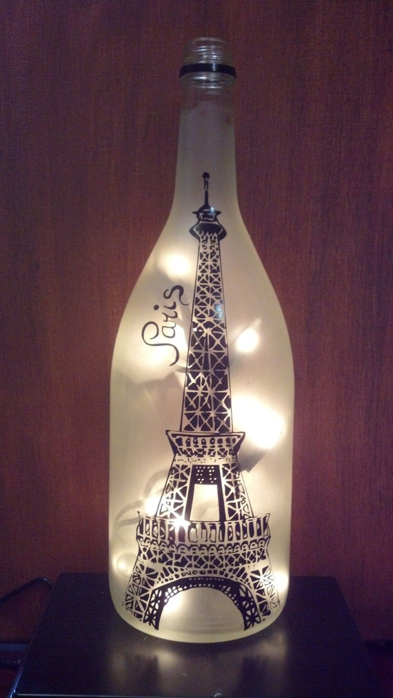 eiffel tower paris recycled wine bottle lamp light