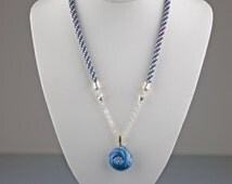 Lampwork Kumi Beaded Necklace  - a lampwork bead hung from a short sterling silver chain, packaged in an organza bag & gift box