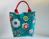 Medium tote bag. Beach bag. Overnight bag. Everyday bag. Lunch/Weekend bag. Ladies bag. Overnighter, in Ndieh's Designs Aqua-marine fabric