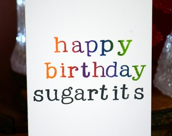 Happy birthday Sugartits- rude birthday card party supplies