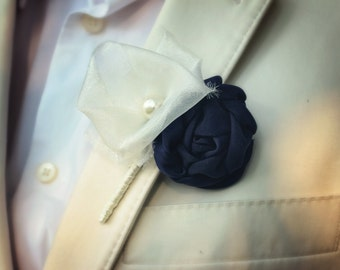 Navy Boutonniere | Fabric Flower Boutonniere | Wedding Boutonniere | Groom's Boutonniere | Shabby Chic Boutonniere | Rustic Wedding