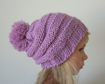 Pom-pom slouch beanie hat - lavender, purple, wool, hand knit accessory, READY to SHIP, size MEDUIM, girl 6-8 years