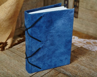 Soft Blue Leather Sketchbook / Journal with Black Crsiscrossing Lace, Medium Book 154 Blank Pages