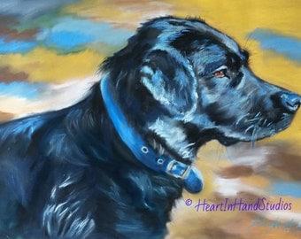 Inga, Black Labrador Retriever Pastel Pet Portrait