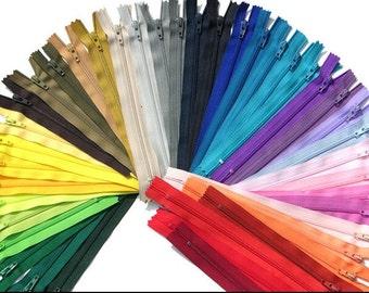 """zippers,zippers lot , 9""""coil #3, zipper lot, sewing supplies , neutral assortment , nylon zipper, sewing zippers , (choose 10/20pcs)"""