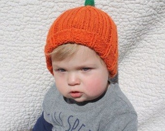 Baby and Toddler Pumpkin Knit Hats - Pumpkins Hats - Toddler Hats - Infant Hats - Kids Hats - Halloween