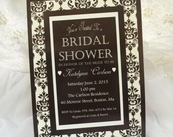 Damask, Black, White, Bridal Shower Invitation-25 Cards