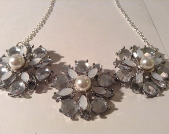 Crystal and Pearl Bib Necklace