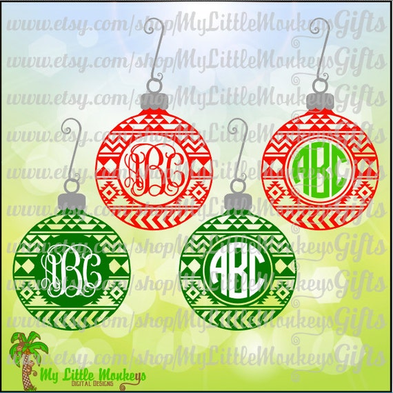 Aztec christmas ornament monogram base designs digital clipart