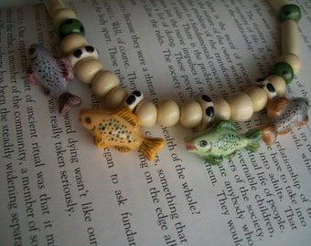 Ceramic Fish Beaded Necklace--Flying Colors