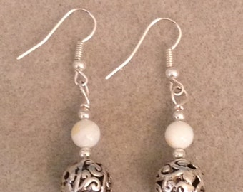 White Sea Shell with Silver Bead Earrings