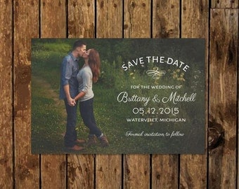 DIY Custom Photo Save The Date With Vintage Rustic Woodland Country