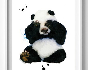 Panda Print, Panda Bear,  Nursery Wall Art,Baby, Black and White Animals,Woodlands,Babys, Nursery Print,  Kids Gift, Wall Art     Pic no 16