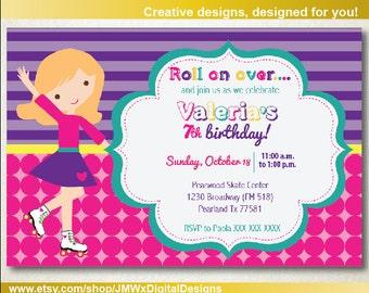 Roller Skating Birthday Party Invitation, Roller Skate Birthday Party Invitation, Roller Skating Party Invitation,