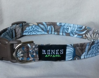 Steel Blue and Brown Floral Tag Collar