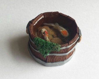 Hand crafted ooak Minature koi pond in a bucket