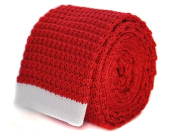 red skinny knitted tie with white tip by Frederick Thomas FT2029