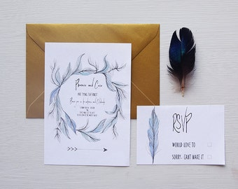 Boho Feather Wedding Invitation Suite