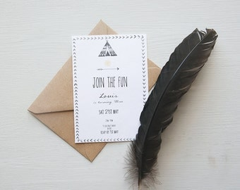 Little Red Indian Birthday Party Invitation