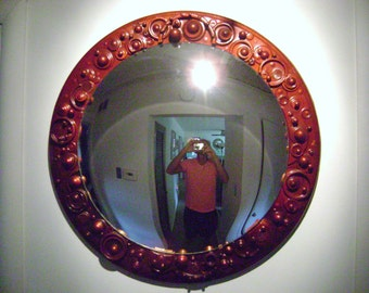 wood and mixed object convex mirror