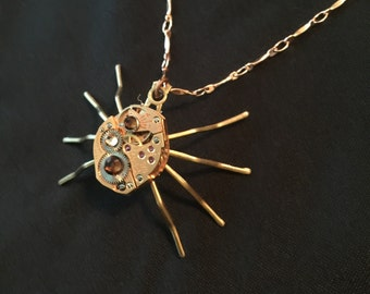 Gold steampunk spider necklace