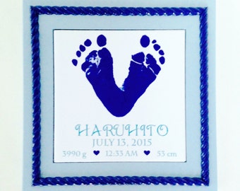 Baby Footprints Ceramic Tile Plaque with Handmade Accent Wood Frame - Using Baby's Actual Footprints - Newborn Gift - Personalized Keepsake