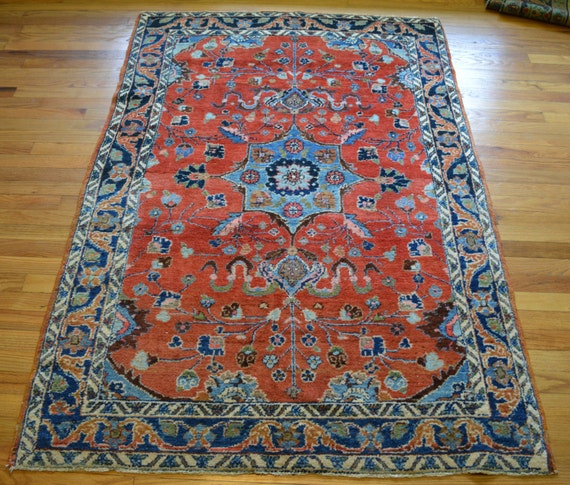 Shop Oriental Persian Gabbeh Shades Of Orange Hand Knotted: Antique Persian Rug // 4x6 Ft. Lilihan W/ By