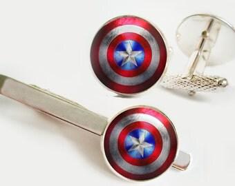SET Captain America Shield Cufflinks and Tie Clip Accessories Cufflinks Image under glass Tie Clip Tie bar Tie pin