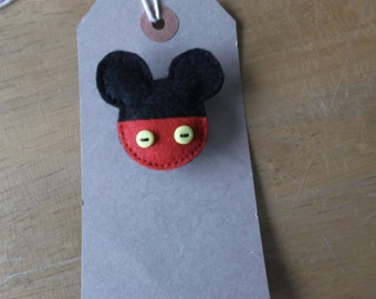 Felt mouse brooch red mickey inspired