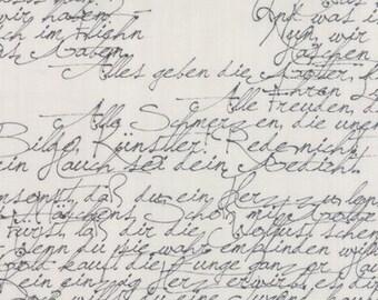 Modern Background Paper - Cursive Handwriting in Black on Fog by ZEN CHIC for Moda 1580 25