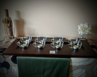 Tea Light Candle Tray   Repurposed Tea Cups   Upcycled Candle Tray   Tea Light Centerpiece   Casual Lighting   Shabby Chic Decor
