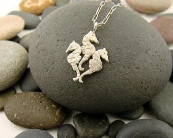 Sterling Silver Sea Horse Pendant Lost Wax Casting