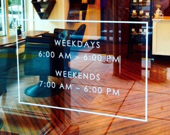 "Store Front Hours Vinyl Decal Store Sign Store Display Decal Boutique Business Sign Office Door Sign 16"" x 10"""
