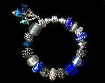 Genuine Pandora Bracelet ~ SEPTEMBER SAPPHIRE ~ with European Style Beads