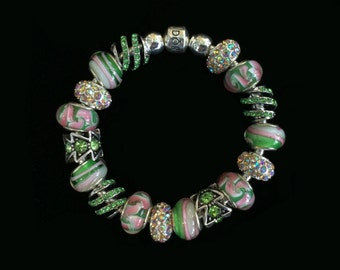 Genuine Pandora Bracelet~GREEN AND PINK~ European Style Beads